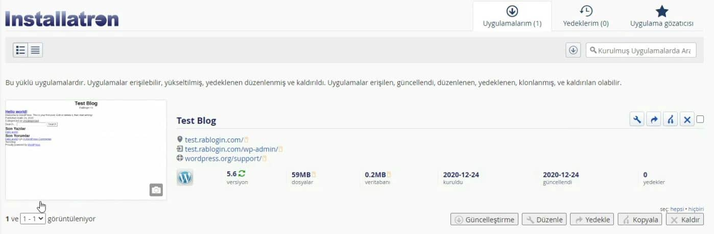 WordPress Kurulumu Bitti